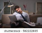 businessman workaholic working... | Shutterstock . vector #582222835