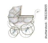 watercolor retro baby carriage | Shutterstock . vector #582228055