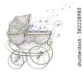Watercolor Retro Baby Carriage...