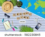 vector travel banner with a... | Shutterstock .eps vector #582230845
