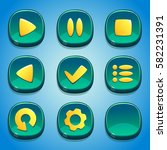 turquoise buttons set. gui...