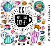 coffee vector set. ok  but... | Shutterstock .eps vector #582231721