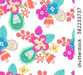 beautiful floral seamless... | Shutterstock .eps vector #582233737