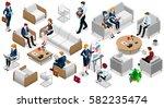 isometric people isolated... | Shutterstock .eps vector #582235474