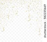 many falling golden confetti... | Shutterstock .eps vector #582235669