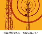 telecommunication tower with... | Shutterstock .eps vector #582236047