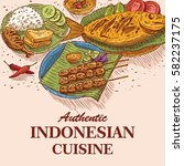 hand drawn of indonesian food ... | Shutterstock .eps vector #582237175