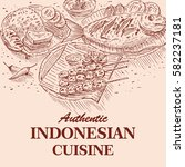 hand drawn of indonesian food ... | Shutterstock .eps vector #582237181