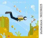 diver under water. vector flat...   Shutterstock .eps vector #582238225