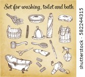 set of elements for baths and... | Shutterstock .eps vector #582244315