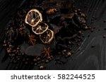 rash pieces of wood black... | Shutterstock . vector #582244525