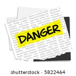 danger on vector paper notes