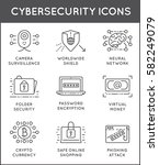 cyber security thin line icons... | Shutterstock .eps vector #582249079
