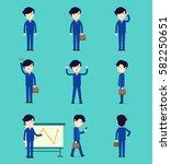 business smart man cartoon... | Shutterstock .eps vector #582250651