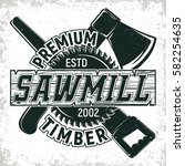 vintage woodworking logo design ... | Shutterstock .eps vector #582254635