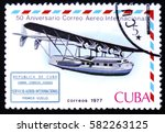 Small photo of MOSCOW, RUSSIA - FEBRUARY 12, 2017: A stamp printed in Cuba shows Flying boat and international airmail service 1st flight cachet, series International Airmail Service, 50th Anniversary, circa 1977