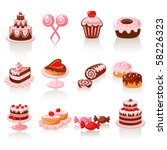 sweet pastry icons | Shutterstock .eps vector #58226323