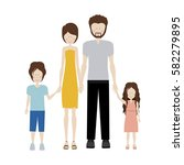 color silhouette family and dad ... | Shutterstock .eps vector #582279895