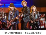 Small photo of Ricky Phillips, James Young and Tommy Shaw of Styx - Pacific Amphitheater Costa Mesa CA. June 15, 2016