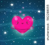 cute pink planet of love  the... | Shutterstock .eps vector #582288055