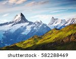 great view of alpine snowy... | Shutterstock . vector #582288469