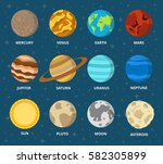 planet icon set. planets with... | Shutterstock .eps vector #582305899
