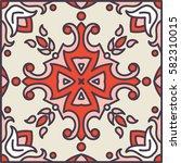 portuguese azulejo tiles. blue... | Shutterstock .eps vector #582310015