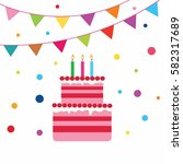 playful birthday cake with... | Shutterstock .eps vector #582317689