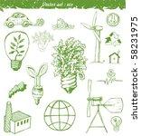 set ecological doodles symbols | Shutterstock .eps vector #58231975