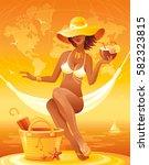 sea sunset beach people... | Shutterstock .eps vector #582323815