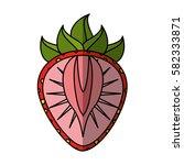 fresh fruit slice isolated icon   Shutterstock .eps vector #582333871