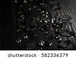 black leaves with black... | Shutterstock . vector #582336379