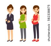 cute cartoon pregnant woman set.... | Shutterstock .eps vector #582338875