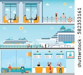 info of cruise ship terminal at ... | Shutterstock .eps vector #582353161