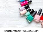 lot of bottles nail polish on... | Shutterstock . vector #582358084