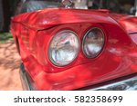 headlamps classic car | Shutterstock . vector #582358699