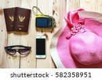 travel concept on wooden...   Shutterstock . vector #582358951
