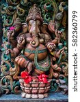 ganesha statue with beautiful... | Shutterstock . vector #582360799