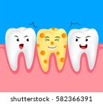 funny cheese cartoon tooth...   Shutterstock .eps vector #582366391