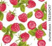 vector raspberry seamless... | Shutterstock .eps vector #582369247