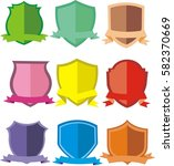 shields and ribbons flat set | Shutterstock .eps vector #582370669