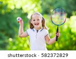 active preschool girl playing... | Shutterstock . vector #582372829