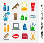 cosmetics colorful icons | Shutterstock .eps vector #582373975