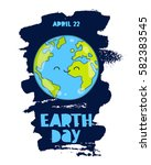 april 22   earth day. trend... | Shutterstock .eps vector #582383545