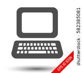 laptop icon. simple flat logo...