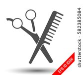 scissors and comp icons.... | Shutterstock .eps vector #582385084