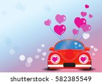 red car with heart vector... | Shutterstock .eps vector #582385549
