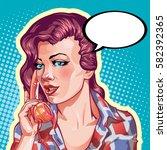 young woman vintage portrait ... | Shutterstock .eps vector #582392365