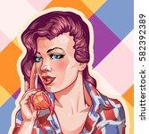 young woman vintage portrait ... | Shutterstock .eps vector #582392389