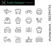 public transport thin line icon ... | Shutterstock .eps vector #582394741